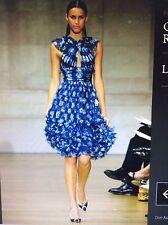 ICONIC GORGEOUS Oscar De La Renta R'7 blue/white silk dress