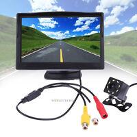 """5"""" TFT LCD Car Rear View Backup Monitor W/ Parking Night Vision Camera Kit 120°"""