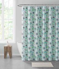 Blue Green Floral Peva Shower Curtain Liner Odorless Pvc Chlorine Mildew Free