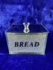 Diamond Crushed Crystal Glass Filled Bread Bin, Container, Kitchen Storage