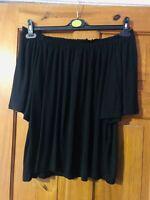 H&M Black Jersey Flared Short Sleeve Bardot Top Size M(12/14)