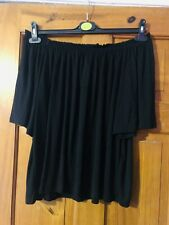 H&M Black Jersey Flared Short Sleeve Bardot Top Size M(12/14)