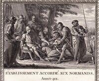 Gravure XVIIIe Etablissement Accordé aux Normands 912 Charles III Rollon 1795