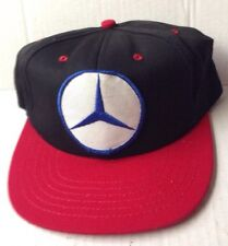 1970s 1980s MERCEDES BENZ TRUCKER BASEBALL CAP HAT, BLACK RED WHITE BLUE VINTAGE