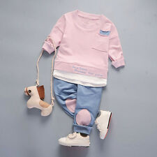 Toddler Baby Kids Girl Boy Tops Shirt+Pants 2PCS Casual Outfit Tracksuit Clothes