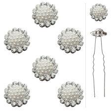 6 épingles pics cheveux chignon mariage mariée fleurs cristal perles nacré blanc