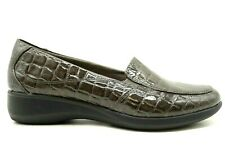 Clarks Gray High Gloss Crocodile Print Casual Slip On Loafers Shoes Women's 8 M
