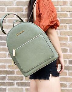 Michael Kors Adina Kenly Medium Backpack Army Green Pebbled Leather