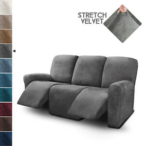 3 Seater Recliner Sofa Covers Velvet Stretch Reclining Couch Covers 8 Piece