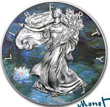 2018 USA $1 CLASSIC ART MONET WATER LILLIES WALKING  LIBERTY 1 Oz Silver Coin.