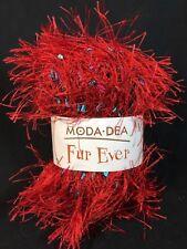 Moda Dea Fur Ever Yarn by Coats - RED HOT - Fancy Eyelash 50g Skein Ball
