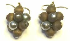 AARIKKA Finland - Vintage Earrings in Brown Color Wood and Silver Tone Metal