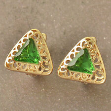 Pretty Unique 9K Yellow Gold Filled Emerald Green CZ Triangle Hoop Earrings