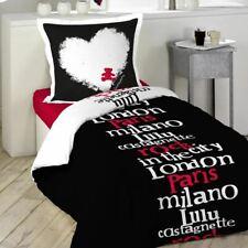 LULU CASTAGNETTE parure de lit couette + taie oreiller  140 x 200 noir blanc