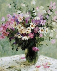 Dream-art Oil painting nice still life flowers fruits in glass vase Hand painted