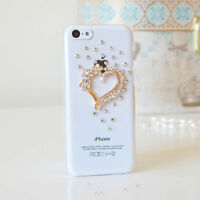 3D Heart Luxury Bling Gem Diamond Crystal Case Cover For iPhone 5C 4S