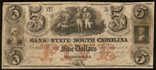 1857 $5 DOLLAR BILL SOUTH CAROLINA BANK NOTE LARGE CURRENCY OLD PAPER MONEY
