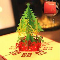 Creative Origami 3D Greeting Card Merry Christmas Tree & Snowman Pop Up Card BM