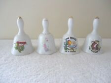 Vintage Lot Of 4 Ceramic Collectible Bells,3,Souvenir,1,Floral Themed