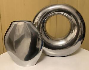 2 Vasen Silber/Edelstahloptik, Metall