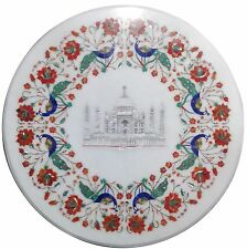 """18"""" White Marble Round Coffee Table Top Tajmahal Marquetry Inlay Art Decor H1626"""