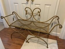 Vintage Italian Gilt Wrought Iron tole Bench Seat Hollywood Regency
