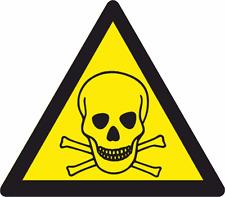 2x Toxic Stickers-5 inch-Self.Adh warning sticker/sign/Waterproof