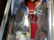 New Authentic Gucci Kids GG Leather Belt Red Large narrow