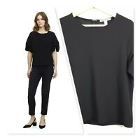 [ COUNTRY ROAD ] Womens Black Textured Ruched Sleeve Top   Size S or AU 10
