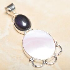 """Mother of Pearl Abalone Sea Shell 925 Sterling Silver Pendant 2.25"""" #P14547"""