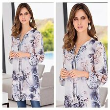 Together @ Kaleidoscope Size 14 Grey Print Tunic DRESS Occasion Evening Party