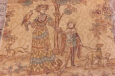 """French Hand Blocked Arts&Crafts Period Linen Conversational Fabric~2y16""""Lx24""""W"""