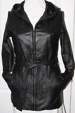 Womens Croft and Barrow Small 100% Leather Coat Hooded Belt EUC
