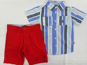 Boys English Laundry $44 Striped Casual Short Sleeve Shirt & Shorts Sizes 4 - 7