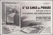 Publicité Ste LE LINGE DES VOSGES - BLANC LINGE DE MAISON ad 1931 - 11h