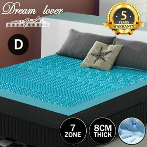Double Size Memory Foam Mattress Topper COOL GEL BAMBOO Cover 8CM Thick 7 Zone