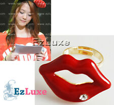 shaped Ring cubic on lips open mouth Korean Girl Group Fx F(x) Sulli Red Lip
