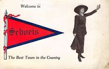 Seboeis Maine~Best Town in the Country~Lady Opens Arms~1913 Pennant PC