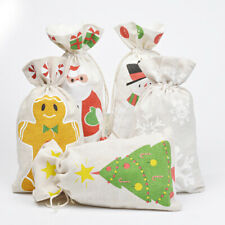 10PCS Christmas Drawstring Bag Candy Cookies Pouches New Year Xmas Gift Bags