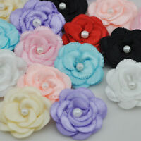 10pcs Satin ribbon bows flower with pearl wedding DIY appliques Upick E06