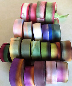 """Silk Ribbon 1"""" on the Bias Hand Dyed 1yd Made in USA"""
