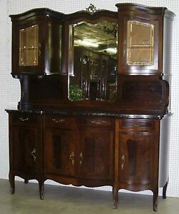 Antique French Burl Walnut Marble Top Serpentine Buffet Sideboard Cabinet  C1890