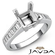 Baguette Diamond Engagement Ring 14k White Gold Princess Cut Semi Mount 0.85Ct