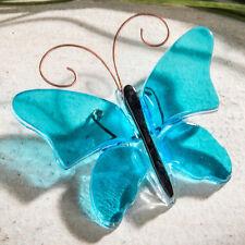 J Devlin Decorative Aqua Blue Fused Glass Butterfly Home & Garden Decor Ornament