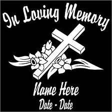 "In Loving Memory Cross Personalized Decal/Sticker 5.5""H"
