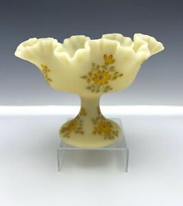 """Fenton """"Daisies on Cameo Satin"""" Footed Compote Artist Signed 8"""" Burmese"""