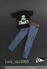 "ZY Toys Male Black Printing ""Stormtrooper"" T-Shirt & Jeans w/ Belt #D 1/6"