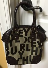 Hurley Brown Logo Canvas Non Leather Womens Bag Purse Zip, NWT