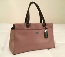 COACH Women's Pink Mauve All Leather Suede Handbag Satchel Purse Bag **Used 2x**