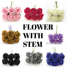 FOAM FLOWERS WITH STEM  BUNCH 6 CM WEDDING BOUQUET DECOR CENTREPIECES